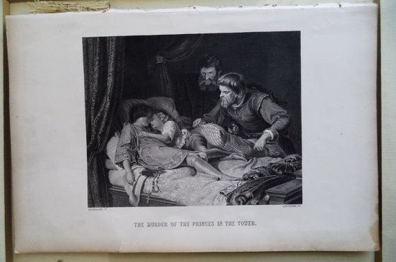 c1870 Engraving Murder of Princes in the Tower by MushkaVintage3