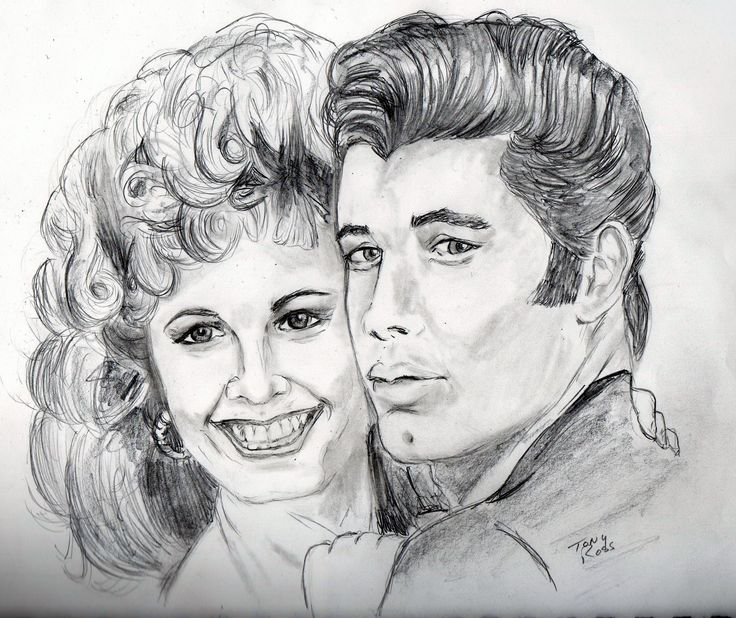 Drawing Of Olivia Newton John And John Travolta As Sandy