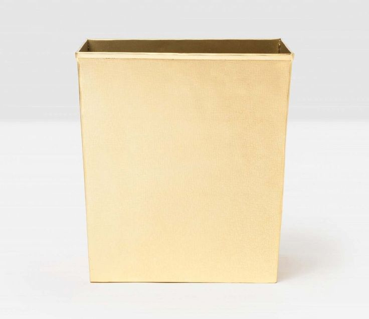 Pigeon & Poodle Tiset Rectangular Wastebasket in Shiny Gold and Optional Tissue Box from The Well Appointed House