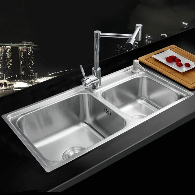 8 best kitchen vessel sink images on pinterest basin sink 39489 home luxury kitchen stainless steel sink vessel double bowl brass swivel chrome polished undermounted workwithnaturefo