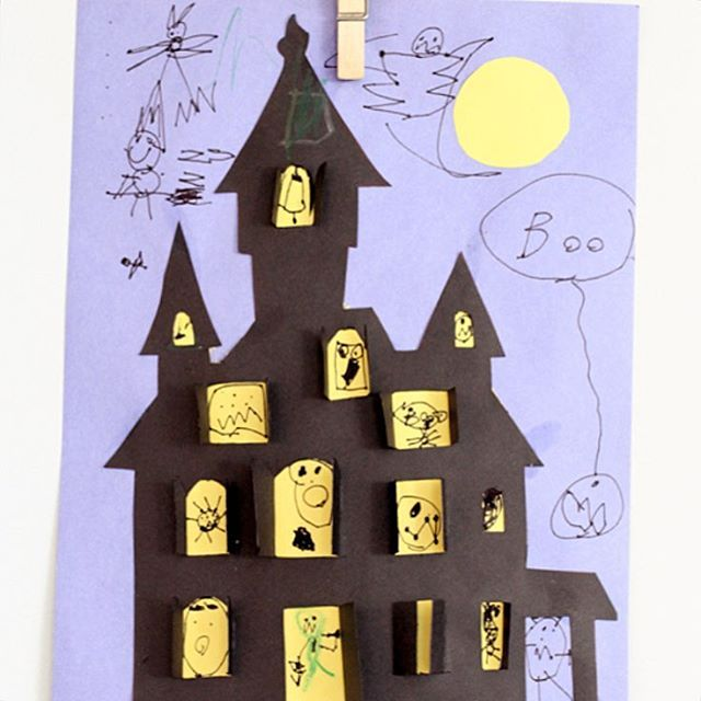 "I've been getting emails this week that the template for the Haunted House Cut Out wasn't downloading on the blog. But it's working now! And oldie... But a goodie!! Kids love to draw all the scary monsters that lurk inside... With peekaboo windows and all. Happy Halloween crafting! (Printables are on my blog under the link ""make"") #halloweencrafts #halloweenprintables"