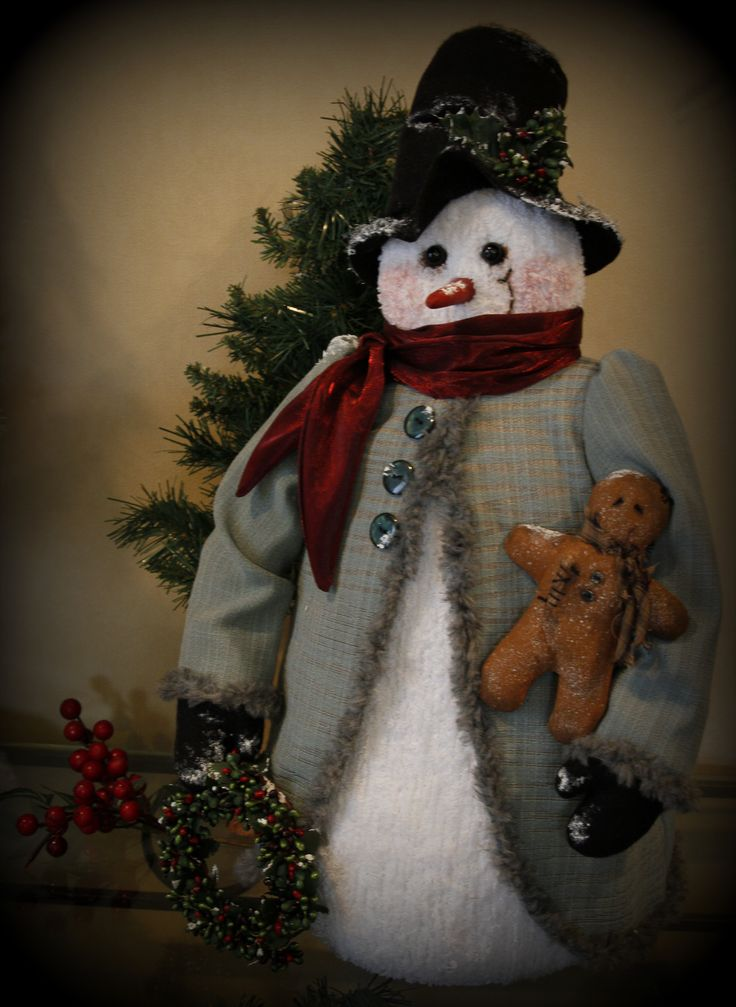 Christmas snowman with gingerbread by TheChristmasDen on Etsy
