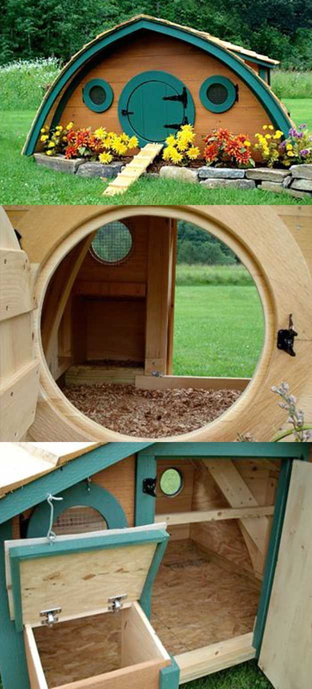 For a little country whimsy, give your chickens a cozy cottage home complete with winding vines and stone pathway to the doorstep. | http://pioneersettler.com/chicken-coop-designs-and-ideas/