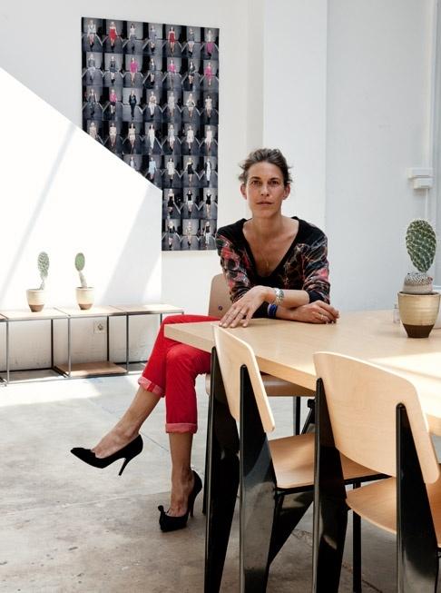 Isabel Marant, red pants, black heels, printed top, studio