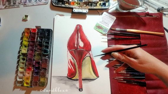 Originalbild handgemalt; der Star: Ein aufregender Schuh, der Stiletto - ein roter sexy Lackpumps ,so in Szene gesetzt nicht nur für Schuhfetischisten ein delikater Anblick voller Erotik und verheißungsvollem Sexappeal. In edlem Rot ist dies detailreduzierte, klare und puristische Dekoration mitfeiner leicht unterkühlter Erotik. Je nach Monitor und ggf. Kalibrierung kann die Farbdarstellung hier vom Original abweichen; das Rot ist ein sattes Ochsenblut- bzw. Feuerrot - je nach Reflex; der…
