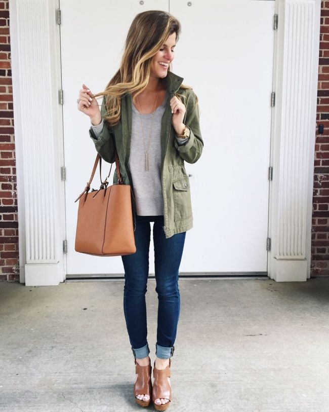 @brightonkeller #OOTD wearing grey sweater utility jacket blue jeans and cognac wedges