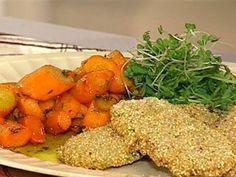 Milanesas de berenjena y quinoa   Zanahorias glaseadas con tomillo