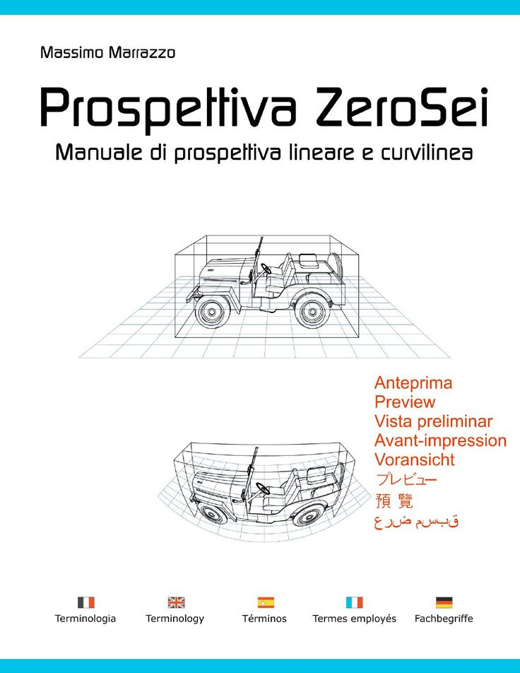 A complete manual of Perspective from 0 to 6 vanishing point, including the curvilinear perspective. Master the curvilinear perspective with four, five and six vanishing point.  Perspective sketching and drawing. Have fun with anamorphic projections and stereo drawings for a 3D effects. Circles, shadows, people, reflections, and much more. There is also a 5 languages Dictionary and Terminology page. (Italiano, English, Español, Français, Deutsch).  The book is in Italian.