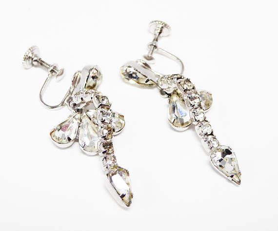 Dangling Clear Rhinestone Earrings - Tear Drops and Chatons - Prong Set  Rhinestones - Silver Tone