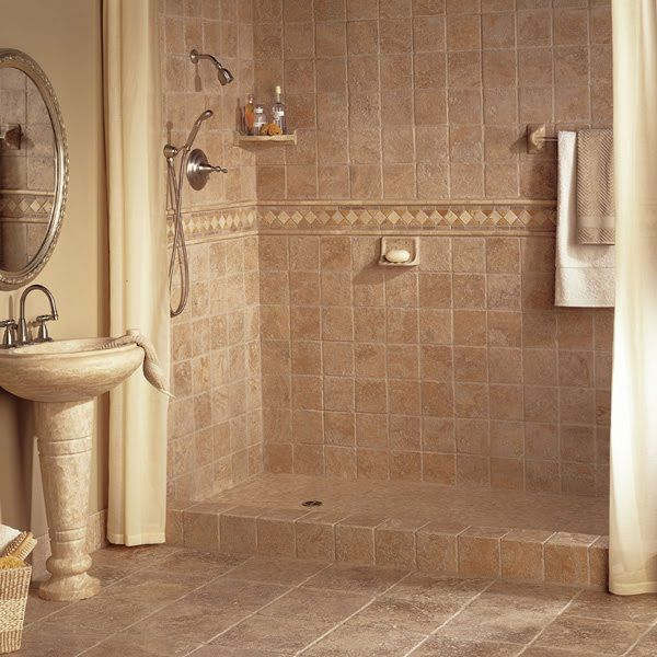 Bathroom Designs Small Bathroom Tile Ideas Brown Stone Tiles Oval Steel Framed Mirror Steel Shower Brown