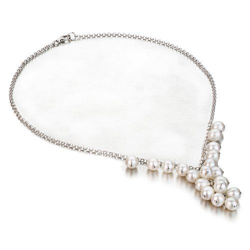 Sterling Silver Clustered White Freshwater Cultured Pearl Necklace, 18 Inches Unique Pearl. Save 75 Off!. $59.00