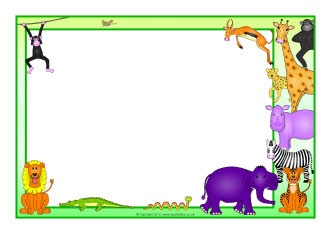 Zoo Animals Clip Art Border Rumble in the J...
