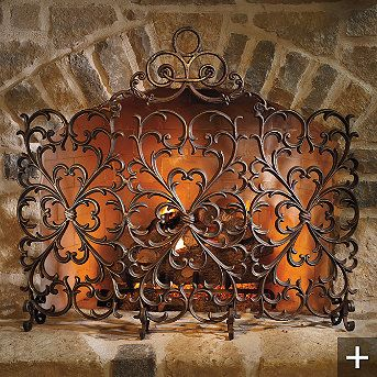 Cast-iron Scrollwork Fireplace Screen