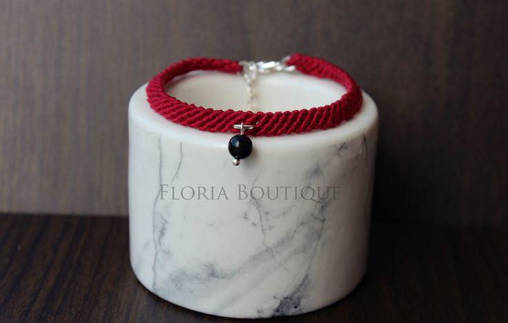 Boho macrame black natural stone wine braceletby FloriaBoutique on Etsy