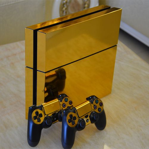 SP Gold Glossy Decal Skin Sticker for Playstation 4 PS4 Console+Controllers