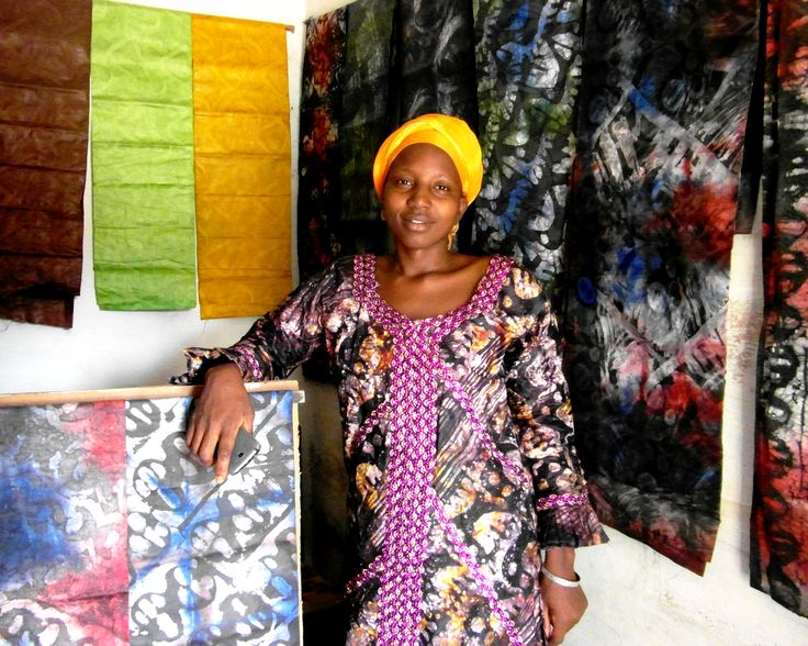 Anja Bah, batik maker, in her shop in Latrikunda-Sabiji
