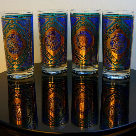 Peacock Barware 1970s Vintage Gorgeous Gold Leaf Feather Eye Highball Bar  Glasses 4 Vintage Baroque Blue Aqua Green Tumblers By Forecast