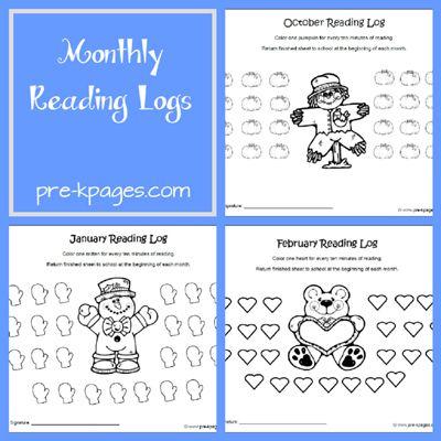 Monthly reading log kindergarten