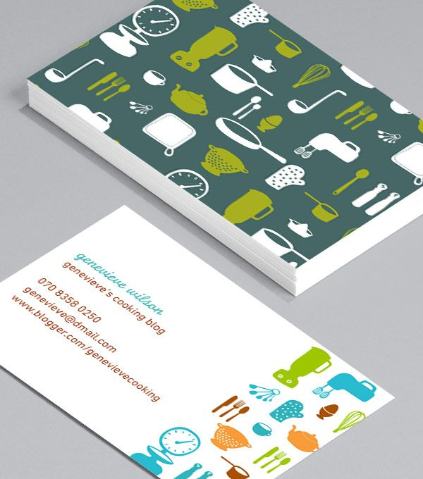Lara Cameron: designed by Lara Cameron, this pretty pack is a lovely way to express the joy of eating out - perfect match for food lovers, restaurant owners, cafe's, coffee and tea sellers, or restaurant utensil wholesalers. #moocards #businesscard