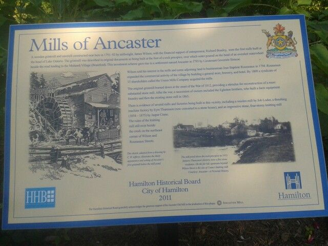 Ancasters Old Mill sign