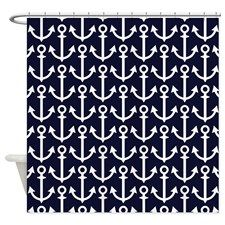 Navy Blue and White Anchor Shower Curtain for