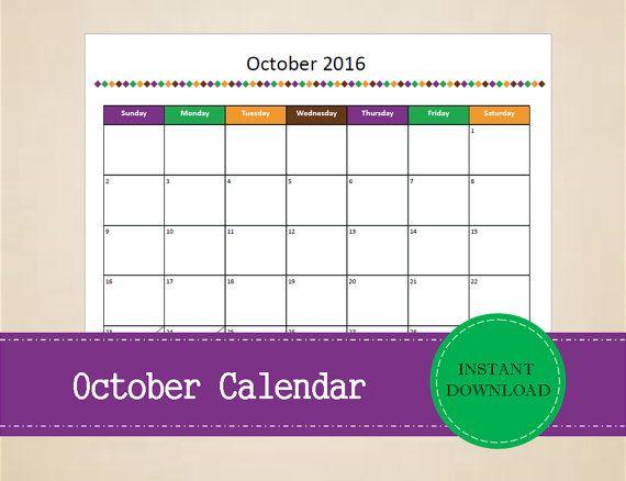 Printable October 2016 Calendar  Seasonal by MBucherConsulting
