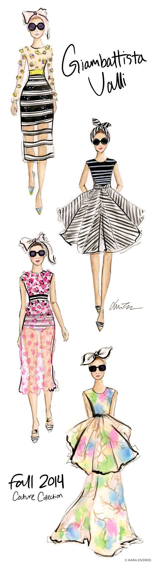 illustration, runway, art, watercolor, fashion, kara endres