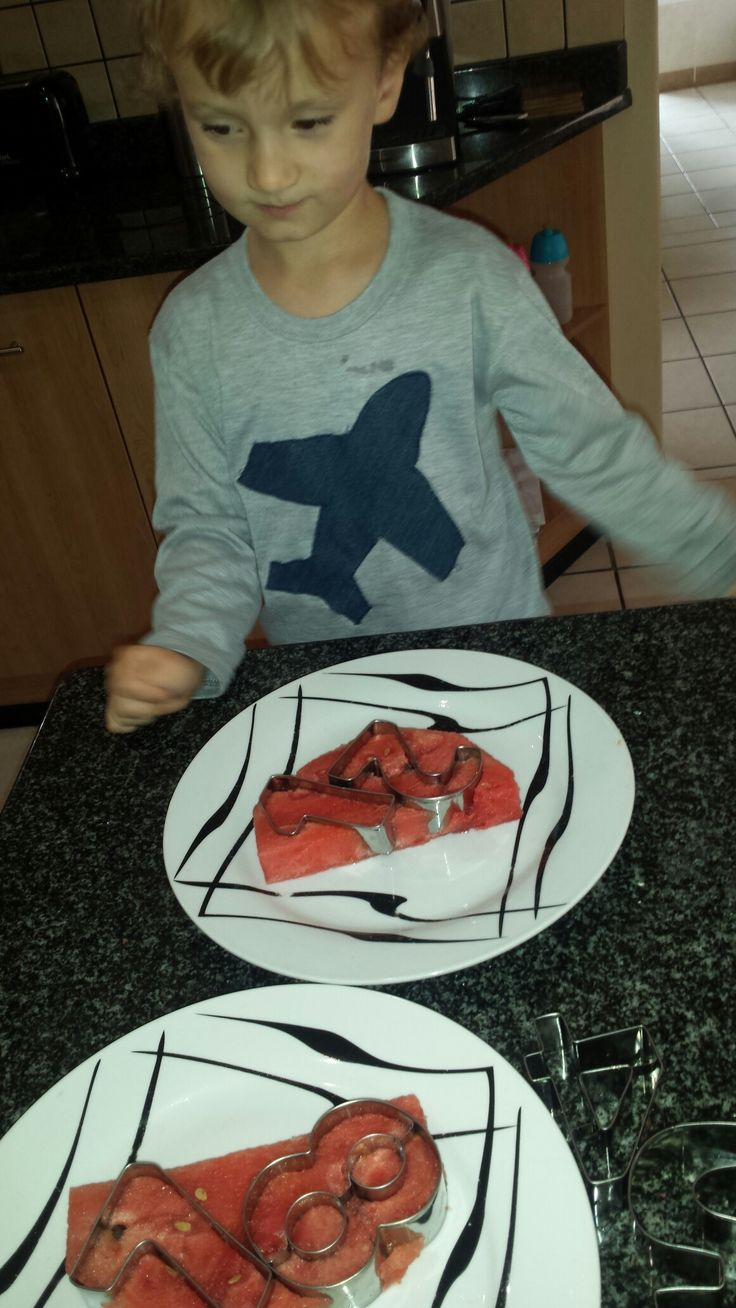 Numbers fun with watermelon and cookie cutters