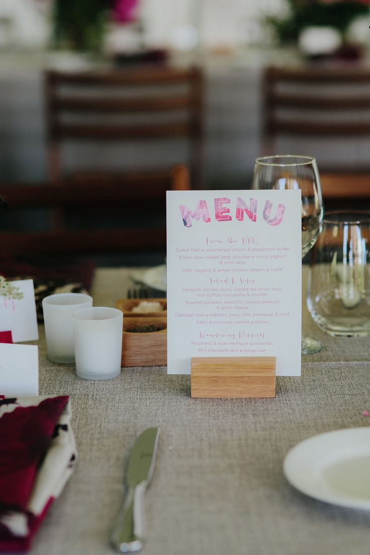 Wedding menu inspiration