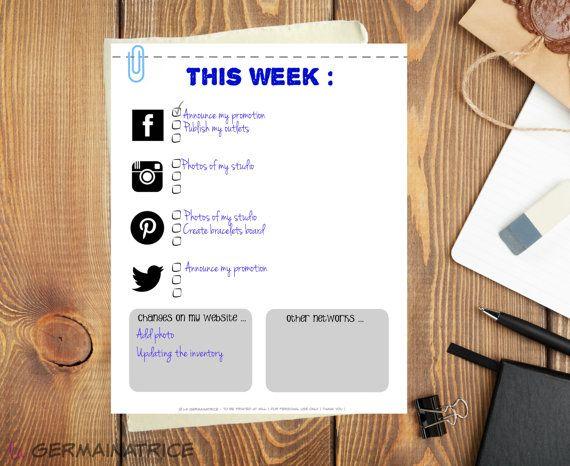 Ma To do list pour réseaux sociaux  VERSION par LaGermainatrice