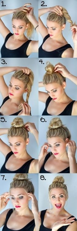 Supplies: Your hair, hands, an elastic band. Directions: Watch the 8 step process in the set of images. This helped me to stop stressing over how I look. By using simple materials, I became creative without breaking a sweat. The bun is also very resourceful when hair gets in your face.
