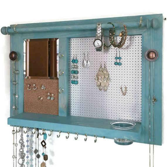 Space Saver All-in-One Jewelry Organizer  Wooden Wall Hanging