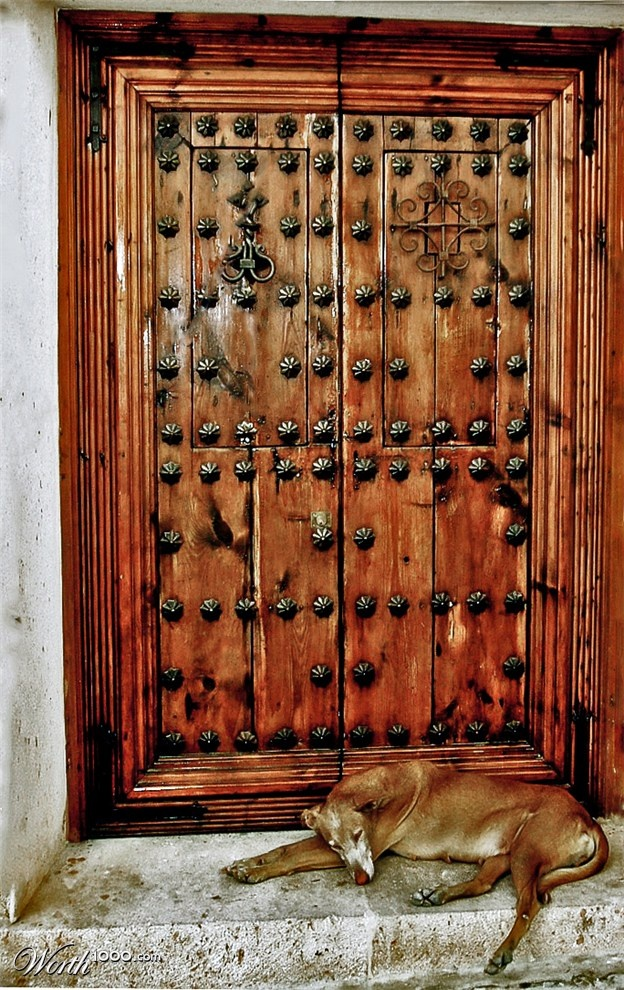 Wooden door in Rhonda, Spain.