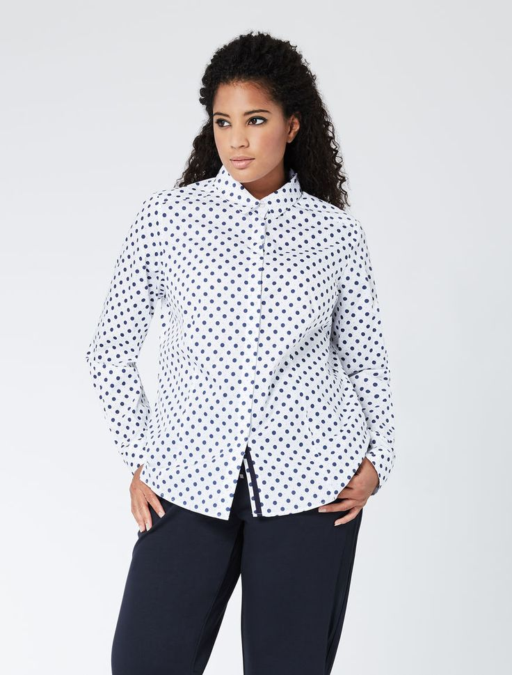 """Camicia in popeline di cotone stampato, bianco ottico - """"BALZAC"""" Marina Rinaldi"""