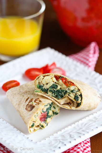 Scrambled Egg Wrap Recipe with Spinach, Tomato & Feta Cheese from @Cookin' Canuck Dara Michalski  #WOWfoodanddrink