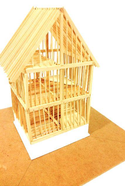 """House Framing Model. 1/4"""" = 1'- 00"""""""