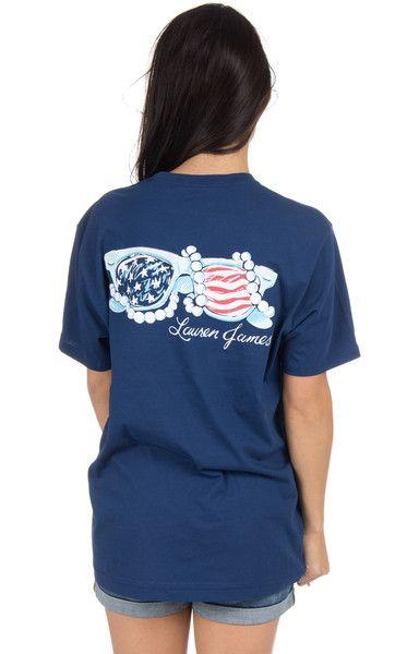 Estate Blue - American Flag Sunnies - Short Sleeve Back