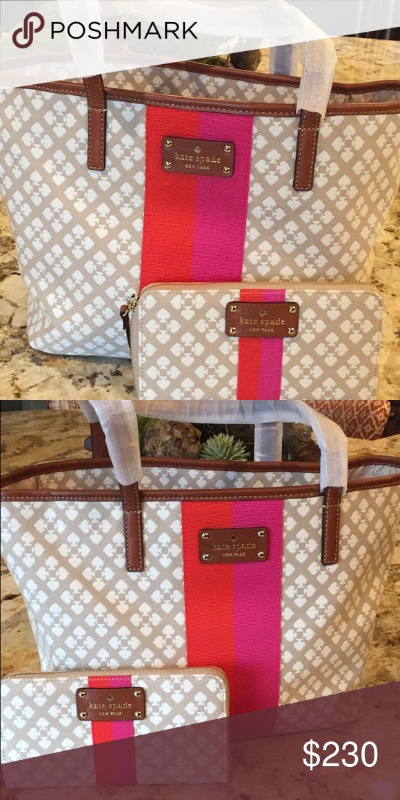 NWOT Kate spade tote 100%Authentic Brand new KATE SPADE !!! This purse is a very nice tote include a brand wallet too !! kate spade Bags Totes
