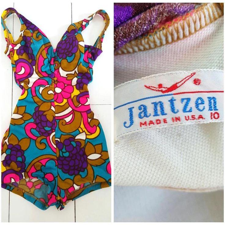Vintage 60s Jantzen Pinup Swimsuit Size XSmall MOD Floral Suit USA One Piece #Jantzen #OnePiece