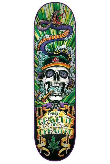 David Gravette Skull 4 skateboard deck by Creature.