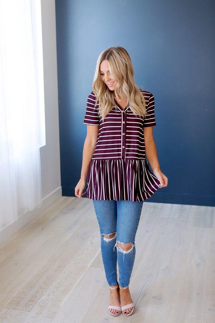 Striped Button Peplum – Fashionista :)