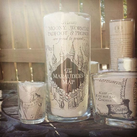 Marauder's map candle holder Harry potter candle by Vsoffbeat