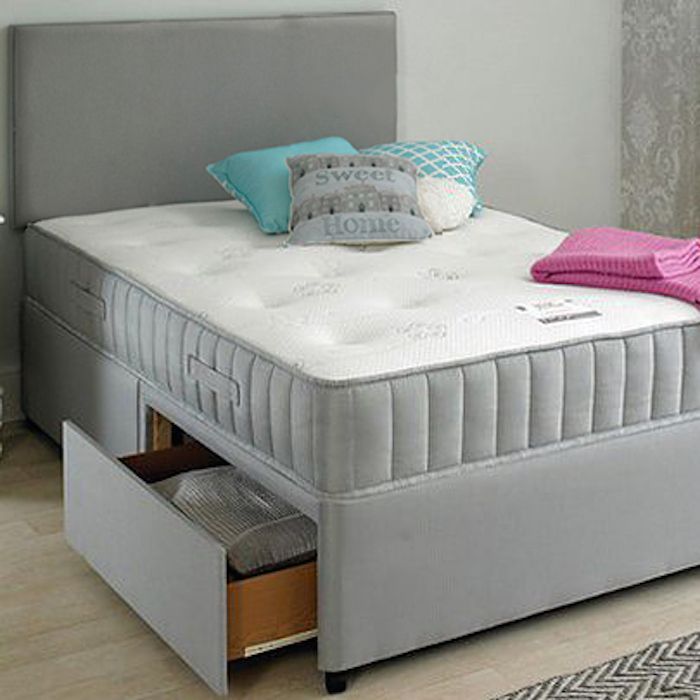 Grey Fabric Divan Set Headboard Spring Memory Foam Mattress