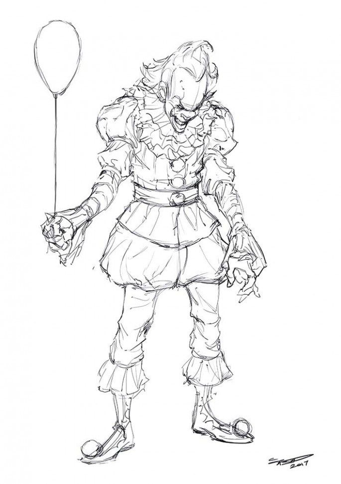 Animation Of Pennywise The Clown From Stephen Kings It Coloring Pages Scary Characters Pennywise The Clown
