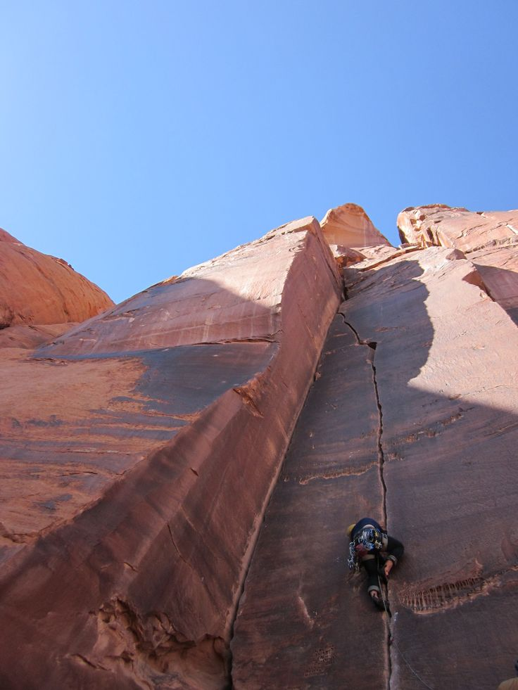Crack climbing is all about accepting the pain.