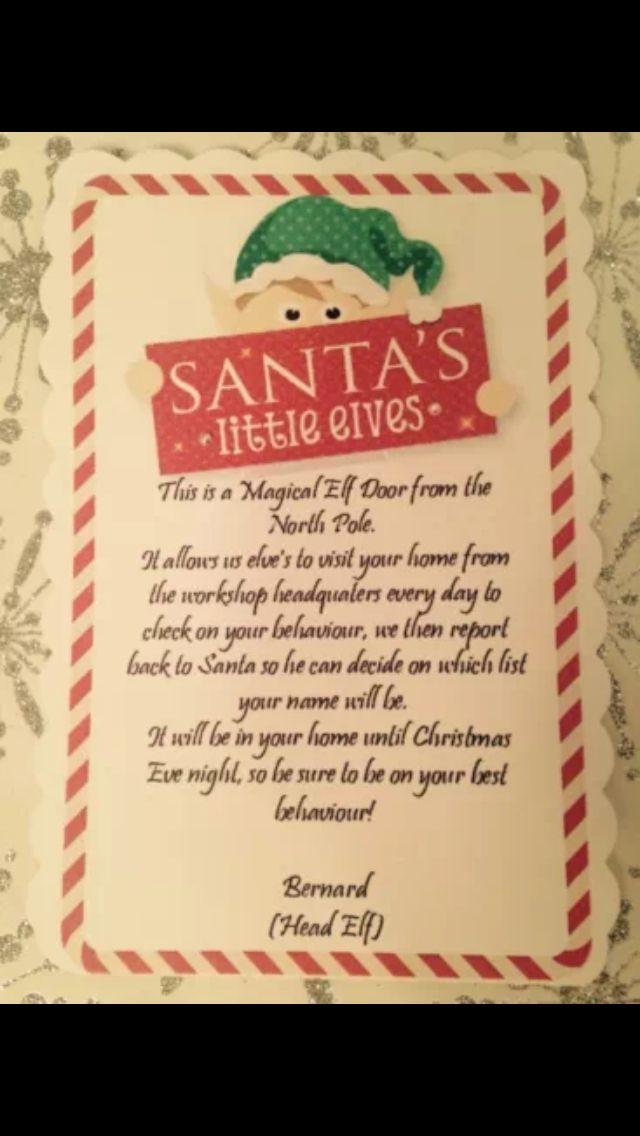 Elf Door Poem And Elves On Pinterest