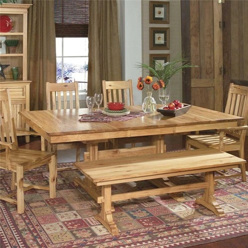 AAmerica Country Hickory Trestle Table In Natural Part 74