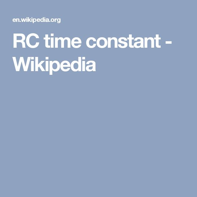 RC time constant - Wikipedia
