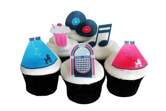 50s THEME PARTY  12 Edible Cupcake Toppers  by incrEDIBLEtoppers, $11.00