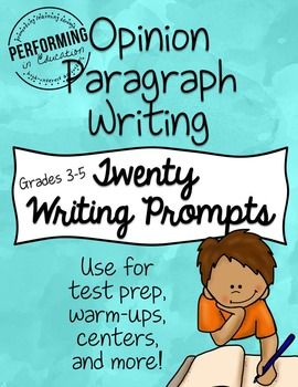 Your students can never get enough writing practice! These half page writing prompts are great for practicing Opinion Writing through short paragraphs. Place them in a writing center, use as a daily warm-up during your Opinion unit, or use as test prep.Common Core Literacy Standard W.3.1, W.4.1, W.5.1 is opinion writing, and this resource covers all parts (A-D).The standards below are labeled for 5th grade as an example of what this resource covers, but it is also appropriate for 3rd and 4th…